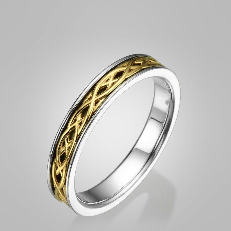 Celtic Wedding Band Wedding Band Two Tone Wedding Ring Two Etsy