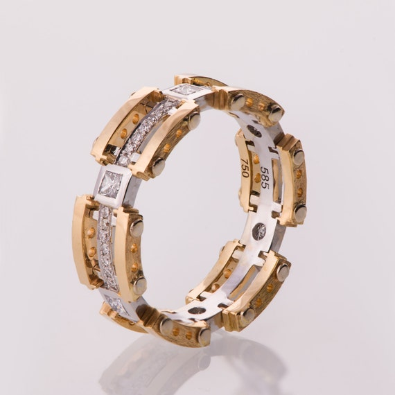 Mens 14K Gold Wedding Bands | Gold Wedding Band Men S 14k Gold Diamond Wedding Band Etsy