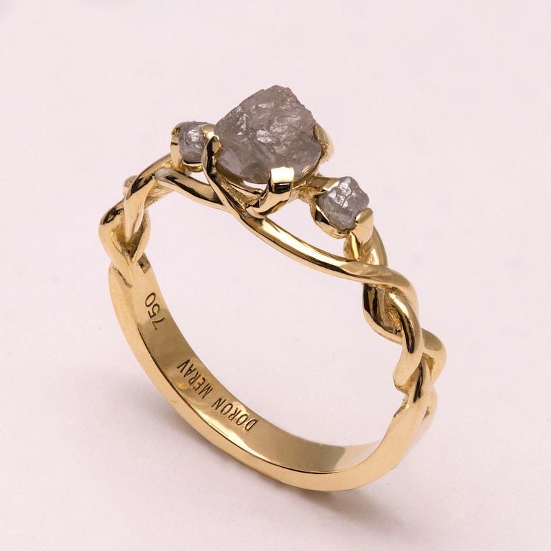 bb6fb8d2158416 Braided Engagement Ring Unique engagement ring Raw Diamond | Etsy