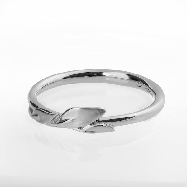 Platinum Leaves Ring Platinum Ring dainty leaf ring image 1