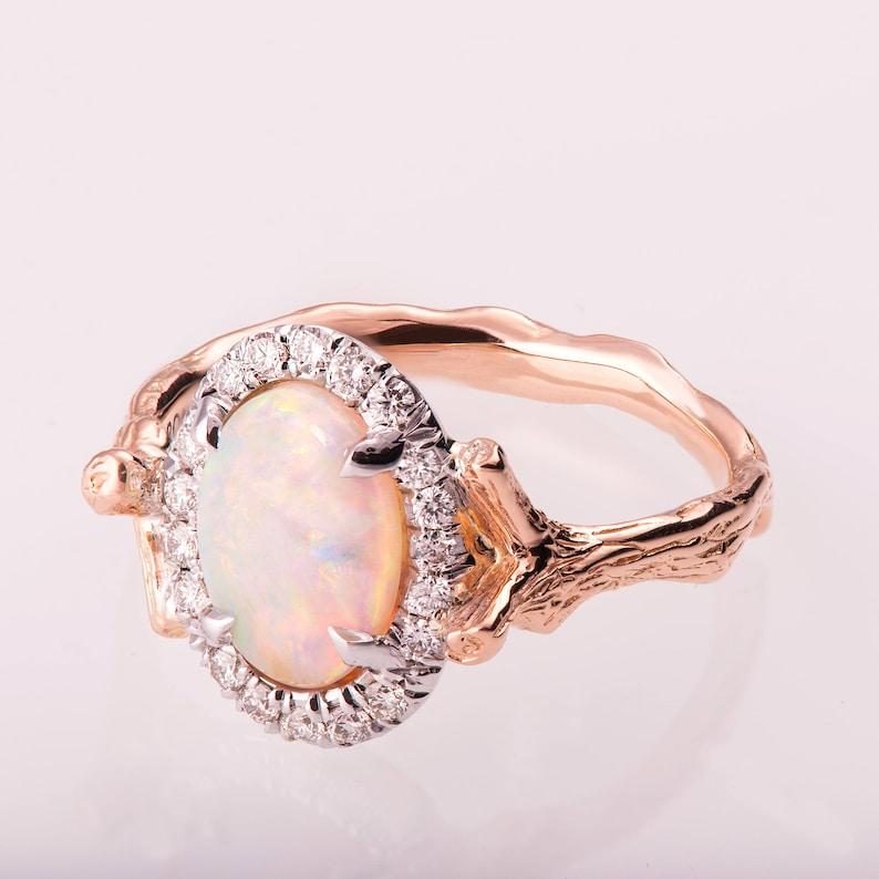 381e2ec009b023 Twig Opal Engagement Ring Opal engagement ring Unique | Etsy