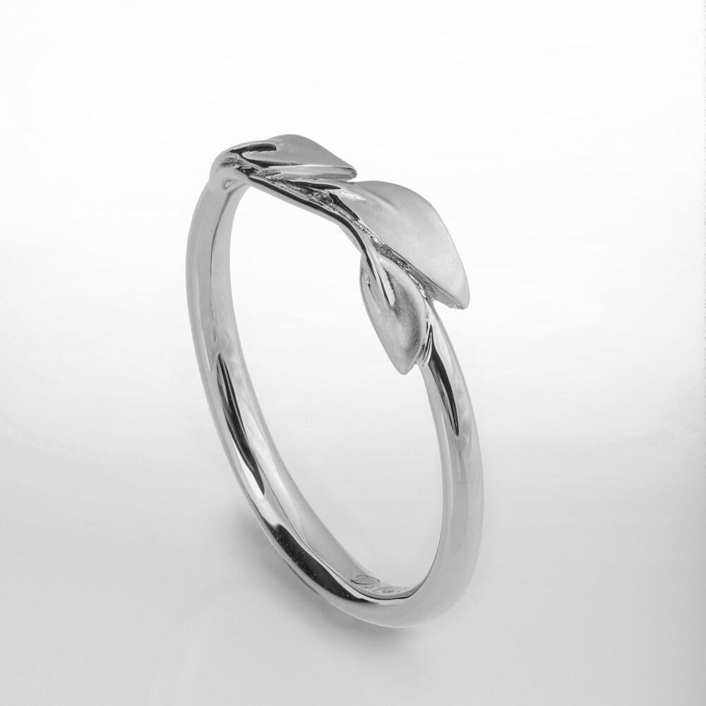 Platinum Leaves Ring Platinum Ring dainty leaf ring image 0