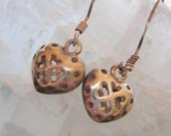 STERLING SILVER HEART shaped Open Earrings for Pierced Ears