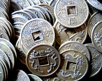 TEN VINTAGE Lucky COINS Feng Shui  Asian