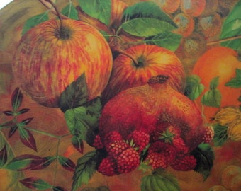 DECOUPAGE FRUIT PLATTER signed by Artist Red Green Gold and Yellows