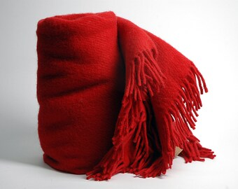 Blanket throw , Dark Red throw with fringes. woolen blanket, wool throw