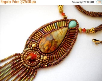 SALE 15% OFF Bead Embroidery Necklace Gold - orange  Bead Embroidered picasso jasper - Made to Order