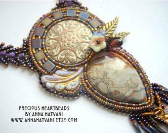 Purple swarovski Bead Embroidery Necklace Kit Emma