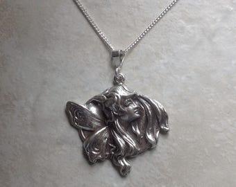 """Vintage Sterling silver Art Nouveau fairy pendant 18"""""""