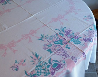 Mid Century vintage party table cloth colurful  use or craft