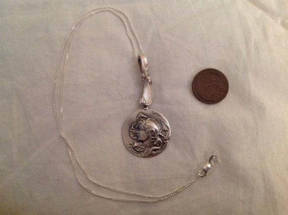 Large solid Sterling silver spooky bat vintage button pendant charm art nouveau necklace with new 18 chain