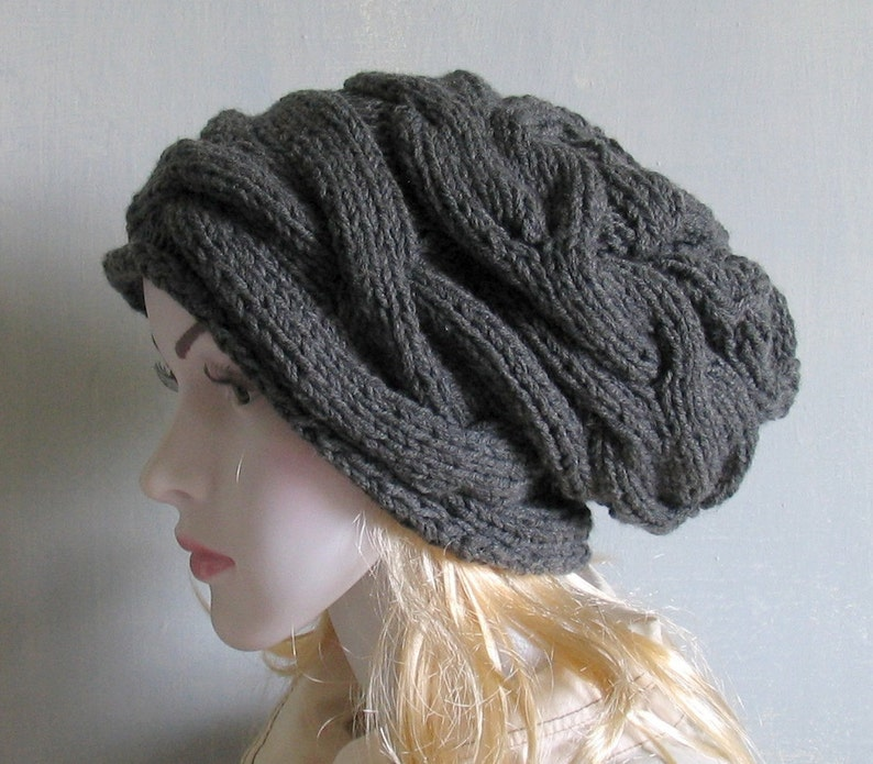 9f1046df00f Slouchy Hat Slouchy Beanie Cable Hand Knit Winter Women Hat