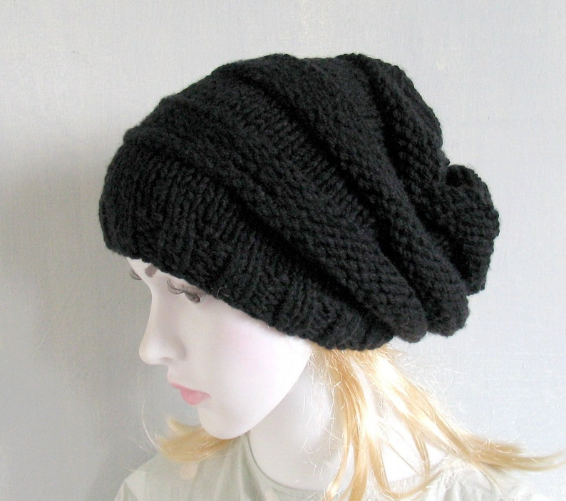 6563e98216e9d Anthracite Men s Slouchy Beanie Hand Knit Hat for Men