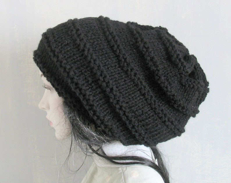 725a3058fe6 Hand Knit Hat Slouchy Beanie Beanie Winter Hat Grey Hat Dreads