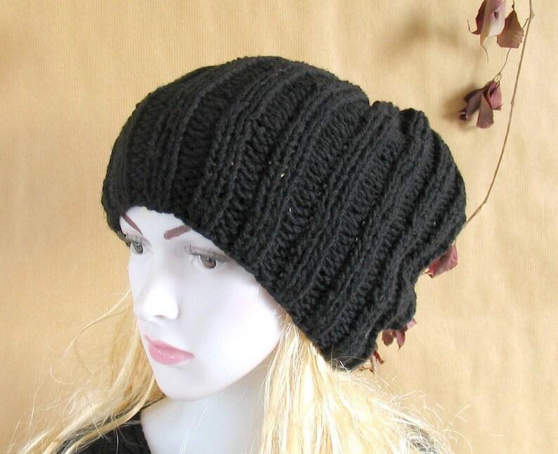 ec3b0a89a4f Slouchy Chunky Black Mens Womens Double Thick Brim Knit Hat