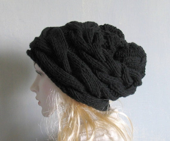 ddd54b64ed6 Black Winter Hat Knit Hat Slouchy Beanie Beanie Hat Beret