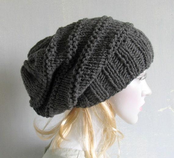 c346111835e Black Grunge Beanie Hat Soft Vegan Hat Loose Knit Slouch Hat
