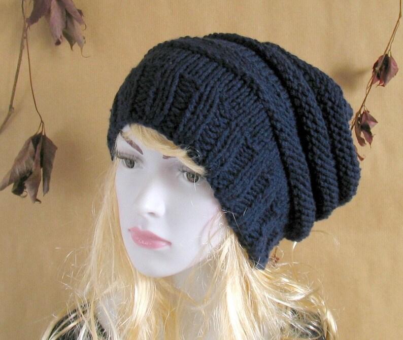 8fee504d505768 Chunky Slouchy Women Men Hat Beanie Knit Beret Oversized Hat | Etsy
