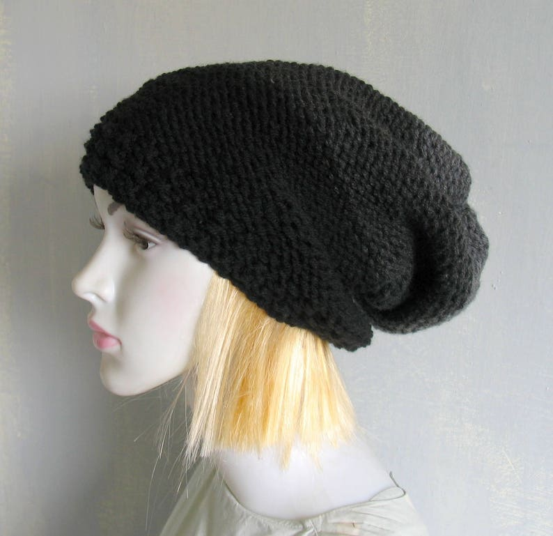 09a248ab7ac Handmade Slouchy Hand Knitted Men s Hat Black Beanie Hat