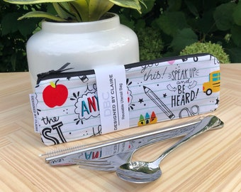 Zero waste reusable utensil set, eco friendly stainless steel set, a great way to say no to single use plastic, Back to School Print