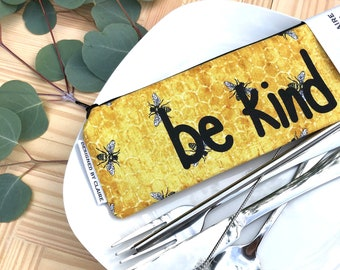 Zero waste reusable utensil set, eco friendly stainless steel set, great way to say no to single use plastic, Bees with Be Kind