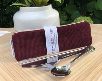 Zero waste reusable utensil set, eco friendly stainless steel set, great way to say no to single use plastic, Burgundy Corduroy, Fall Line