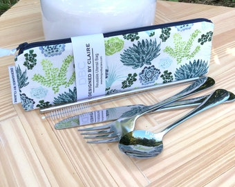 Zero waste reusable utensil set, eco friendly stainless steel set, a great way to say no to single use plastic, Plants, Greenery