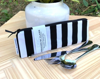 Zero waste reusable utensil set, eco friendly stainless steel set, a great way to say no to single use plastic, Black and White Stripes