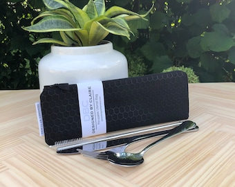 Zero waste reusable utensil set, eco friendly stainless steel set, a great way to say no to single use plastic, in black honeycomb texture
