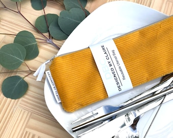 Zero waste reusable utensil set, eco friendly stainless steel set, great way to say no to single use plastic, Mustard Corduroy, Fall Line