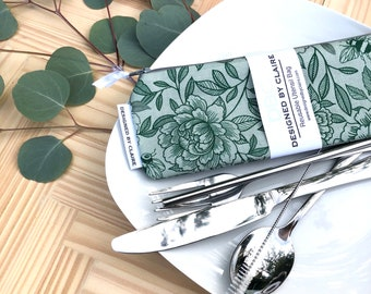 Zero waste reusable utensil set, eco friendly stainless steel set, great way to say no to single use plastic, Green garden with Bees