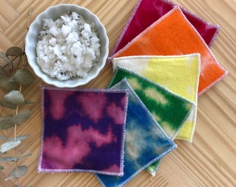 Reusable makeup remover pads, Reusable cotton rounds, Zero waste, Washable, Makeup remover pads,  Reverse Tie-Dye Rainbow Pack, 6/12/24 pack
