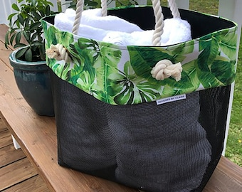 Beach Bag Tote / Beach Bag Woman / Large Beach Bag / Beach Bag/Waterproof /Summer Tote / Summer Bag / Tropical Palms