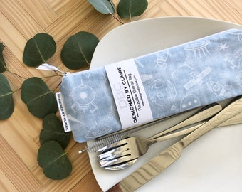 Zero waste reusable utensil set, eco friendly stainless steel set, say no to single use plastic, Spaceship, Rocket Ship , Kids Set