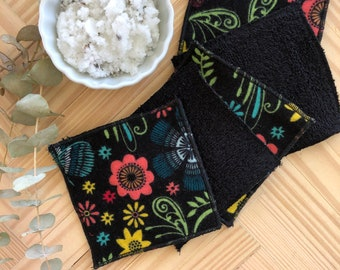 Reusable makeup remover pads,Reusable cotton rounds, Zero waste,  Eco-friendly,  Machine Washable, Makeup remover, Black With Bright pattern