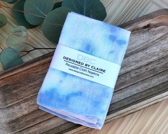 Zero waste Cotton Cloth Napkins, White Cotton Napkins, Reusable napkins, Table linens, Blue Tie-Dye Napkin