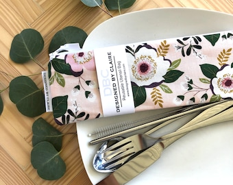 Zero waste reusable utensil set, eco friendly stainless steel set, a great way to say no to single use plastic, Pale pink with Flowers