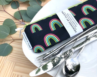 Zero waste reusable utensil set, eco friendly stainless steel set, great way to say no to single use plastic, Navy with Rainbows