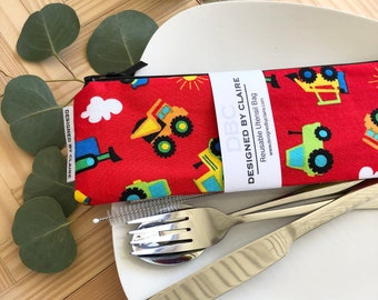 Zero waste reusable utensil set, eco friendly stainless steel set, say no to single use plastic, Red with Trucks, Kids Set