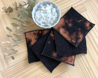 Reusable makeup remover pads/ Reusable cotton rounds/ Zero waste / Eco-friendly / Machine Washable/ Makeup remover / Reverse Black Tie-Dye