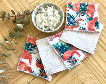 Reusable makeup remover pads,Reusable cotton rounds, Zero waste,  Eco-friendly,  Machine Washable, Makeup remover, Flamingos , 5/10 pack