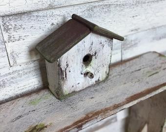 Dollhouse Miniature Birdhouse in White