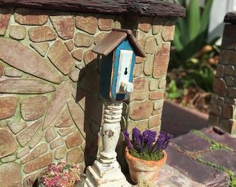 Dollhouse Miniature Birdhouse in Blue
