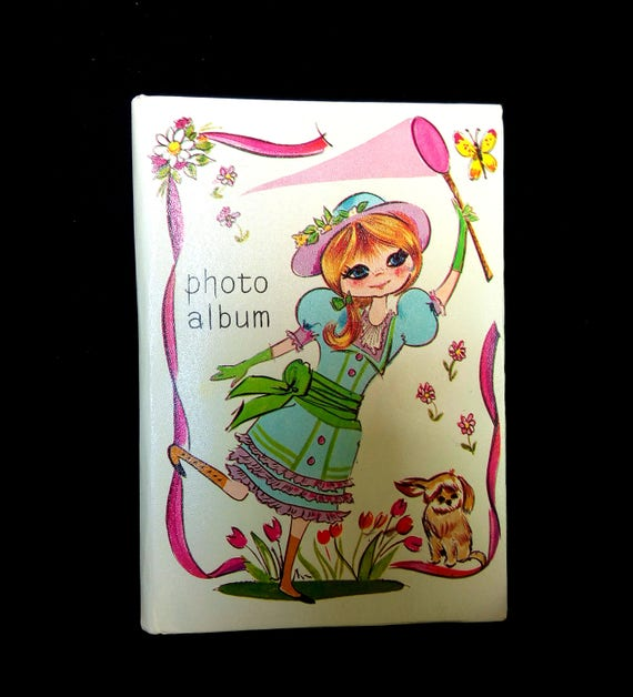 Butterfly Photo Album Book Vintage Girl With Net Holds 48 Pictures Of 35 X 5 9 Cm X 12 Cm Size Dated 1970