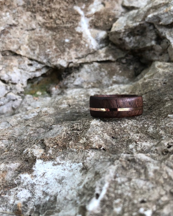 Offset Walnut & Rose Gold Band