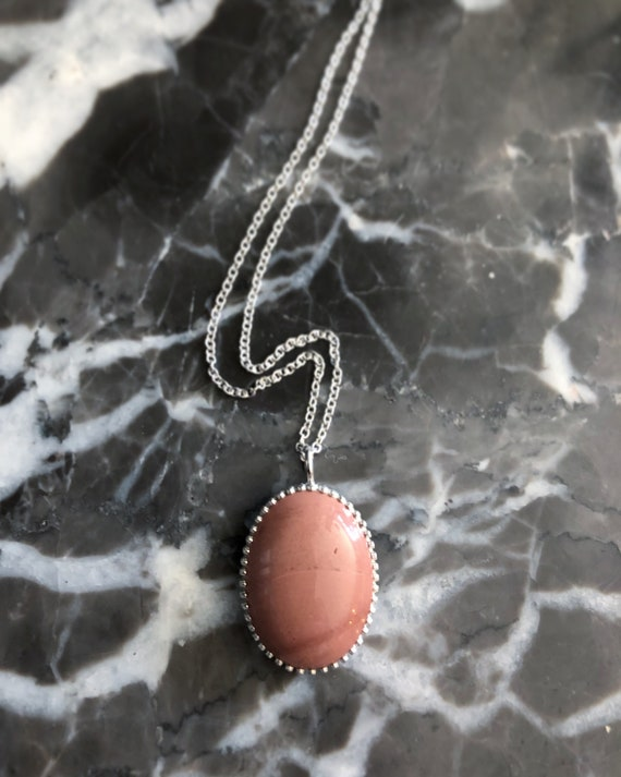 Peach Jasper Drop Necklace