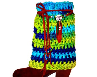 Boot Cuffs With Beaded Leather Wrap, Bohemian, Boot Socks, Boot Toppers, Boho Clothes, Hippie Clothes, Women's Boot Cuffs, Boot Bling, Fairy