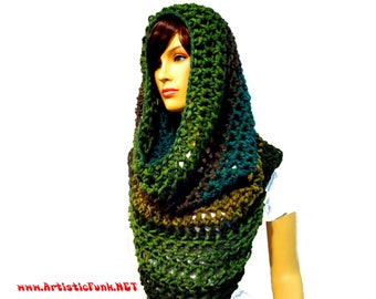 Hooded Scarf, Chunky Scarf, Oversized Scarf, Wool Scarf, Infinity Scarf, Chunky Scarves, Winter Festival, Hippie Clothes