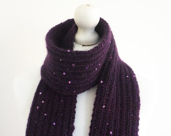 SALE Knitted purple chunky soft winter scarf