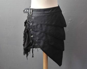 Post Apocalyptic Skirt, Asymmetric Layered Armour Clothing, Small to Plus Size